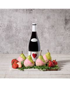Strawberries & Dipped Pears Gift Set with Wine, Wine Gift Baskets, Gourmet Gift Baskets, Chocolate Dipped Pears, USA Delivery